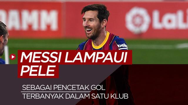 Berita motion Grafis 5 pencetak gol terbanyak dalam satu klub, Lionel Messi lampaui Pele.