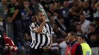Giorgio Chiellini merayakan golnya ke gawang Lazio. (AP/Riccardo De Luca)