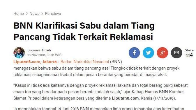 [Cek Fakta] Benarkah Narkoba dari China Masuk ke Indonesia?