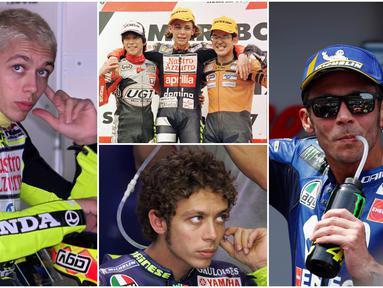 Pembalap MotoGP, Valentino Rossi, terkenal dengan penampilnnya yang nyentrik. Berikut gaya pembalap asal Italia ini dari masa ke masa. (Foto Kolase AFP)
