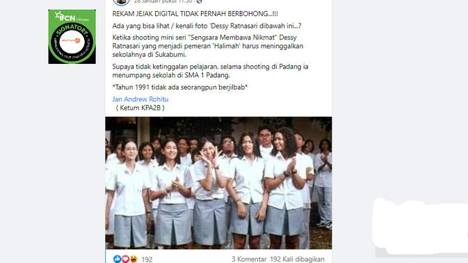 Cek Fakta Liputan6.com menelusuri klaim foto tidak ada siswi di Padang yang Berjilbab pada 1991