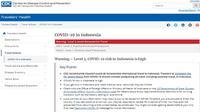 Imbauan CDC yang menyatakan level tiga terhadap risiko penularan COVID-19 di Indonesia (Tangkapan Layar laman CDC)