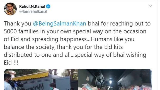 Salman Khan Sumbangkan Bahan Makanan untuk 5.000 Keluarga Saat Lebaran