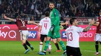AC Milan menelan kekalahan 1-2 dari Torino pada laga pekan kelima Serie A, di Stadio Olimpico Grande Torino, Kamis (26/9/2019) malam WIB. (Alessandro Di Marco/ANSA via AP)