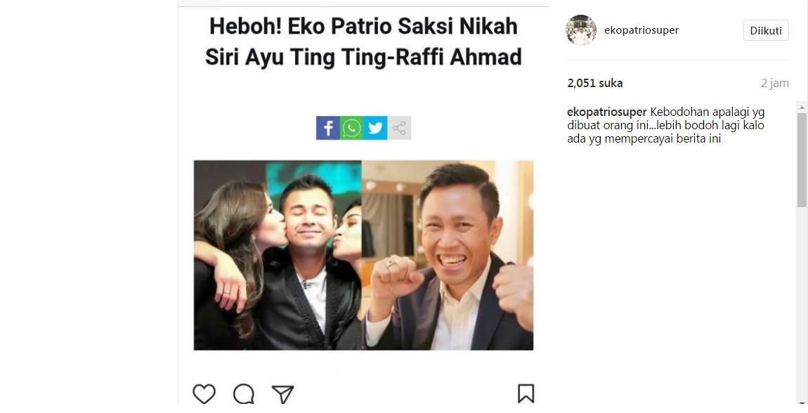 Eko Patrio kesal namanya disangkutpautkan dengan hubungan Ayu Ting Ting dan Raffi Ahmad (Foto: Instagram)