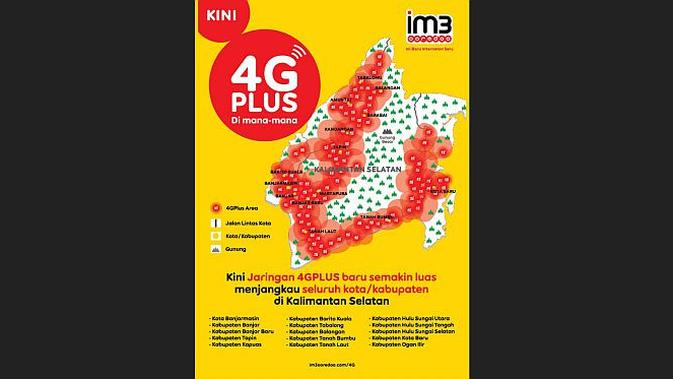 Jaringan 4G Plus Indosat Ooredoo di Kalimantan Selatan (Foto: Ist)