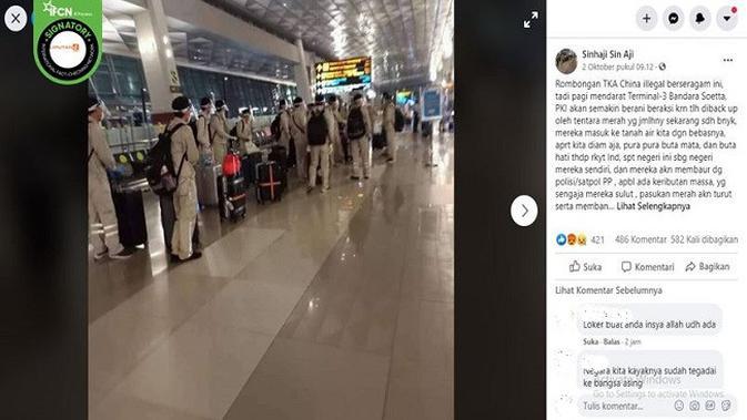 Gambar Tangkapan Layar Foto Rombongan Penumpang di Bandara Soekarno-Hatta