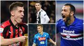 Berikut ini daftar top scorer Serie A 2019. Fabio Quagliarella di posisi pertama dengan koleksi 26 gol, sementara bintang Juventus, Cristiano Ronaldo hanya berada di posisi ke empat dengan 21 gol. (Foto Kolase AP dan AFP)