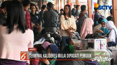 Ribuan calon pemudik jurusan Pulau Sumatra di Terminal Kalideres, Jakarta, memilih berangkat lebih awal.