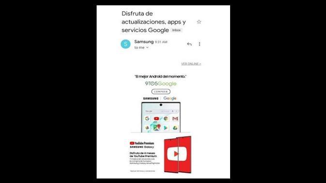 Email Samsung tentang berbagai aplikasi dan layanan Google pada Galaxy Note 10 (screenshot via Phone Arena)