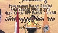 Ketua DPP Partai Golkar Airlangga Hartanto saat menghadiri Silaturahmi Pengarahan Dalam Rangka Pemeangan Pemilu 2019 (Liputan6.com / Nefri Inge)