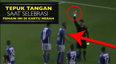 Video selebrasi unik Medi Dresevic pemain klub asal Swedia diganjar kartu merah karena bertepuk tangan di tribun penonton.