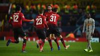 Manchester United hanya mampu meraih kemenangan 1-0 atas Young Boys dalam laga kelima Grup H Liga Champions di Old Trafford, Selasa (27/11/2018) malam waktu setempat. (AFP/Oli Scarff)