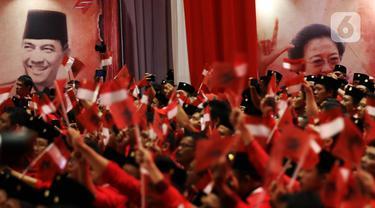 Suasana pembukaan Rakernas I dan HUT ke-47 PDI Perjuangan di JIEXPO Kemayoran, Jakarta, Jumat (10/1/2020). Rakernas ini bertajuk 'Solid Bergerak Wujudkan Indonesia Negara Industri Berbasis Riset dan Inovasi Nasional'. (Liputan6.com/Johan Tallo)