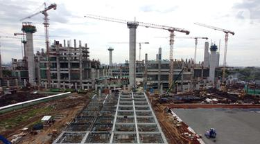 Foto udara perkembangan pembangunan Jakarta International Stadium, Jumat (23/10/2020). Hingga pekan ke-59, progres konstruksi Jakarta International Stadium sudah mencapai 31,89 persen dan ditarget akan selesai pada akhir 2021. (Liputan6.comHelmi Fithriansyah)