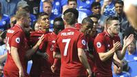 Pemain Liverpool rayakan gol Sadio Mane lawan Leicester City  (AP Photo/Rui Vieira)