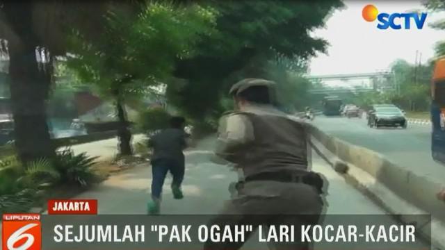 salah seorang Pak Ogah tampak jatuh bangun dan nekat berlari melintasi lalu lintas kendaraan, guna menghindari petugas.