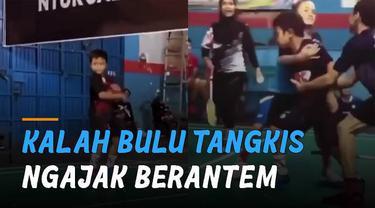 Awalnya seorang bocah berjoget-joget ketika dapat poin, tapi akhirnya kalah dan tidak terima hingga mengajak berantem lawan mainnya.