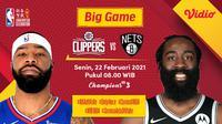 Duel Clippers vs Nets, Senin (22/2/2021) pukul 08.00 WIB dapat disaksikan melalui platform Vidio. (Dok. Vidio)