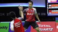 Ganda Putra Indonesia, Kevin Sanjaya Sukamuljo/Marcus Fernaldi Gideon, gagal melaju ke final Piala Thomas 2018 kendati menaklukkan pasangan China, Liu Cheng/Zhang Nan.(dok. PBSI).
