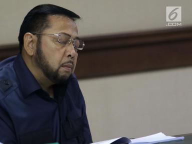 Terpidana kasus korupsi pengadaan e-KTP, Setya Novanto saat mengikuti sidang pengajuan permohonan peninjauan kembali (PK) ke Mahkamah Agung di Pengadilan Negeri Jakarta Pusat, Rabu (28/8/2019). Sidang beragendakan pembacaan nota permohonan peninjauan kembali. (Liputan6.com/Helmi Fithriansyah)