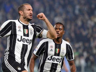 Juventus meraih kemenangan 4-1 atas Sampdoria dalam pertandingan pekan ke-10 Serie A di Juventus Stadium, Rabu (26/10/2016) waktu setempat. Giorgio Chiellini mencetak 2 gol. (Reuters/Giorgio Perottino)