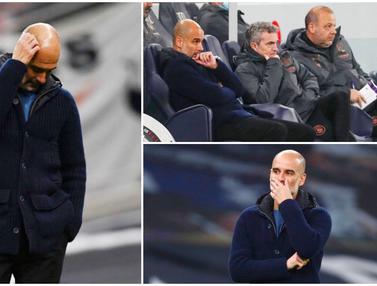 Foto Liga Inggris: Ekspresi Pep Guardiola Saat Manchester City Terkapar di Markas Tottenham Hotspur