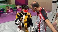 Penembak Indonesia Vidya Rafika Rahmatan Toyyiba mengambil pengalaman berharga pada penampilannya di nomor 10m air rifle putri Olimpiade 2020 Tokyo. (NOC Indonesia)