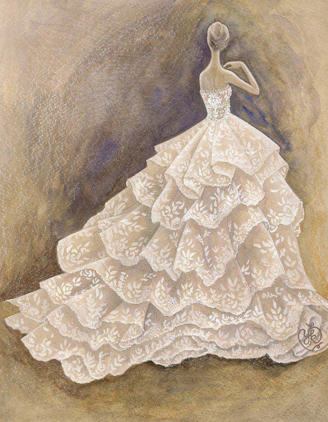 Rancangan Paulette Cleghorn untuk prediksi gaun Meghan Markle. Credit: via brides.com