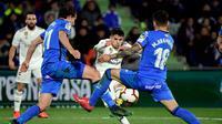 Winger Real Madrid, Brahim Diaz, saat bersua Getafe pada laga pekan ke-34 Serie A di Coliseum Alfonso Perez, Kamis (25/4/2019). (AFP/Javier Soriano)