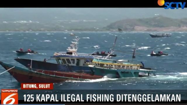 Dari total 125 kapal yang ditenggelamkan, 120 diantaranya berbendera asing.