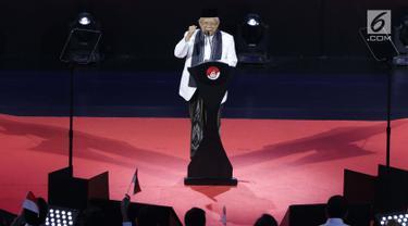 Wakil Presiden terpilih 2019-2024, KH Ma'ruf Amin saat menyambung pidato Visi Indonesia yang disampaikan Presiden RI terpilih 2019-2014, Joko Widodo di SICC, Sentul, Kab Bogor, Jawa Barat, Minggu (14/7/2019). KH Ma'ruf Amin menutup pidato dengan doa bagi bangsa.  (Liputan6.com/Helmi Fithriansyah)