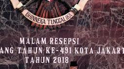 Gubernur DKI Jakarta Anies Baswedan memberi sambutan dalam Malam Resepsi HUT ke-491 Kota Jakarta di Balai Kota Jakarta, Jumat (22/6). Acara tersebut dihadiri oleh para duta besar negara dan sejumlah tokoh. (Liputan6.com/JohanTallo)