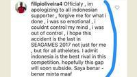 Akun Instagram yang diduga milik Filipe meminta maaf saat diserang suporter Timnas Indonesia.
