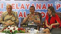 Direktur Regident Korlantas Polri Halim Pagarra memberi pemaparan dalam Workshop Smart SIM di NTMC, Jakarta, Kamis (5/9/2019). Ada beberapa fitur baru dalam Smart SIM seperti integritas dengan uang elektronik. (Liputan6.com/Herman Zakharia)