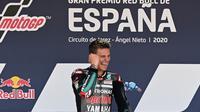 Pembalap Petronas Yamaha SRT, Fabio Quartararo, berhasil finis terdepan di MotoGP Jerez, Minggu (19/7/2020) malam WIB. (AFP/Javier Soriano)