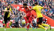 Mohamed Salah memborong dua gol Liverpool atas Watford pada lanjutan Liga Inggris di Anfield, Sabtu (14/12/2019) (AFP)
