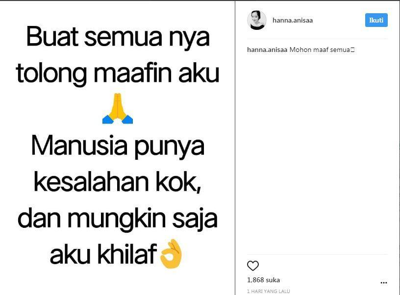 Diduga Jadi Pelaku Video Mesum, Ini Instagram Hanna Annisa? (Foto: Instagram)