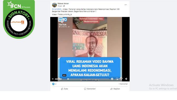 Klaim Uang Baru RI Senilai Rp 100 dengan Wajah Presiden Jokowi. (Facebook)