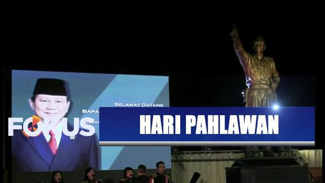 Menteri Pertahanan Prabowo Subianto meresmikan patung Jendral Sudirman saat Hari Pahlawan.