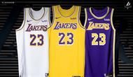 Jersey Los Angeles Lakers untuk musim 2018-2019. (Twitter/LA Lakers)