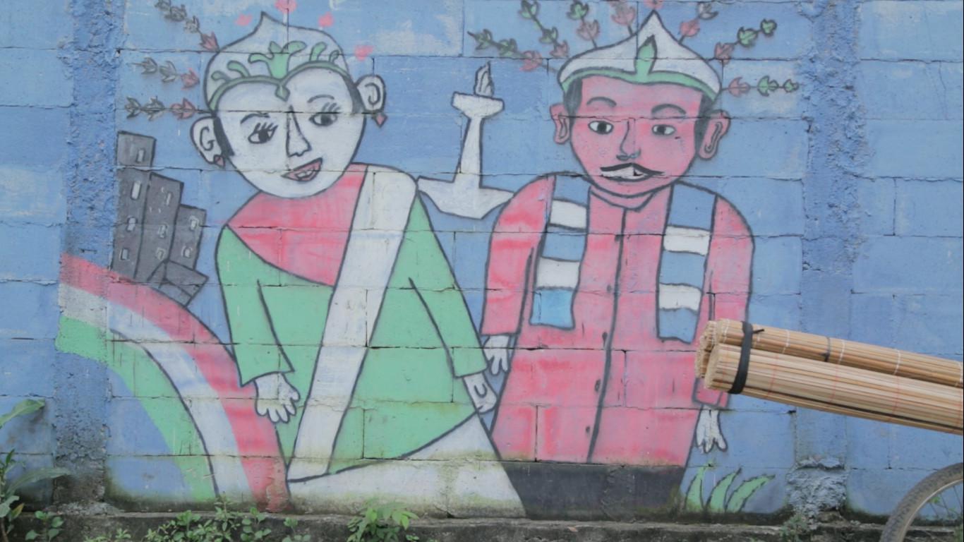 Grafiti Ondel-ondel di Salah Satu Tembok di Duri Kosambi (Liputan6.com/Mochamad Khadafi)