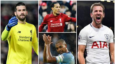 Berikut ini 7 pemain Premier League yang mengalami peningkatan rating di FIFA 19. Dua Diantaranya adalah Harry Kane dan Virgil van Dijk. (Foto Kolase AP dan AFP)