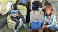 Beda Gaya Syahrini dan Maia Estianty Saat Naik Jet Pribadi (Sumber: Instagram/princessyahrini/maiaestiantyreal/)