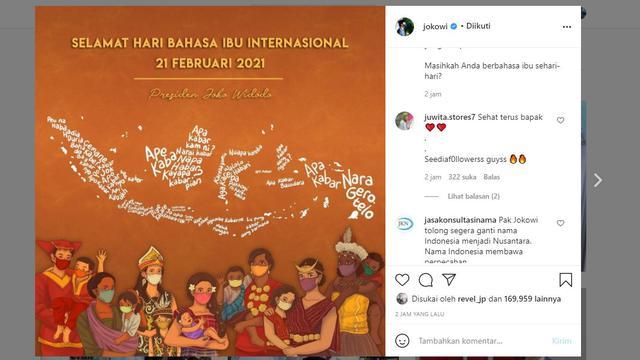 Presiden Jokowi menyambut hari bahasa ibu internasional yang jatuh pada 21 Februari