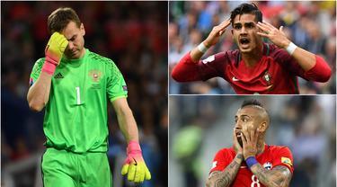Berikut ini Arturo Vidal dan tiga pemain yang tidak mampu menunjukan perrmainan maksimal saat ajang Piala Konfederasi 2017. (Foto-foto Kolase AFP dan EPA)