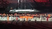 Kontingen Tiongkok pada upacara pembukaan Asian Para Games 2018. (Liputan6.com/Ahmad Fawwaz Usman)