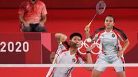 Ganda campuran Indonesia, Praveen Jordan/Melati Daeva Oktavianti, tampil pada perempat final Olimpiade Tokyo 2020 kontra pasangan China, Zheng Si Wei, Huang Ya Qiong, Rabu (28/7/2021). (NOC Indonesia)