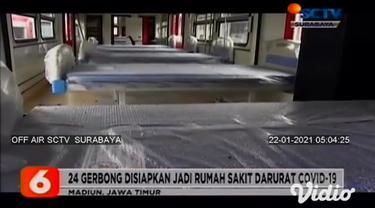 Membludaknya jumlah pasien Covid-19, membuat PT INKA di Madiun, Jawa Timur, berinovasi membuat ruang isolasi di atas tiga rangkaian kereta rel listrik atau KRL, jika dibutuhkan kereta tersebut akan digunakan di Madiun dan sekitarnya.
