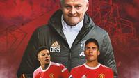 Manchester United - Jadon Sancho, Ole Gunnar Solskjaer, Raphael Varane (Bola.com/Adreanus Titus)